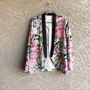 MUSTARD SEED Japanese Garden Floral Open Blazer